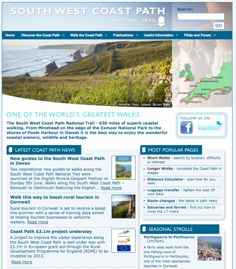 Screen grab of http://www.southwestcoastpath.com/index.cfm website home page