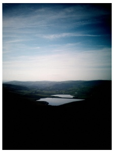 looking over to Castelshaw reservoirs (upper and lower)