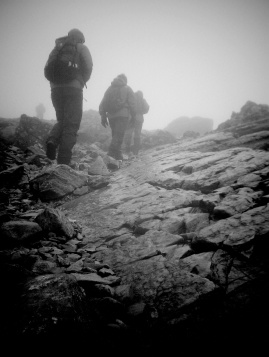 Photo showing hikers Nearing the summit of Scafell Pike