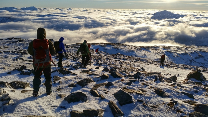 Ben Oss Descent Munro Scotalnd Hike Cloud Inversion Winter