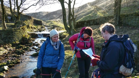 Marsden poetry Trail walkers reading a poem