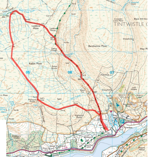 Map showing ramble from Crowden Laddow Rocks walk see Pennine Divide book for more details